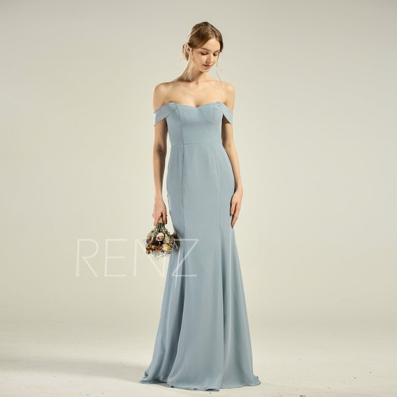 Prom Dress Long Dusty Blue Chiffon off Shoulder Bridesmaid Dress Mermaid Fitted Wedding Dress with Train (H801)