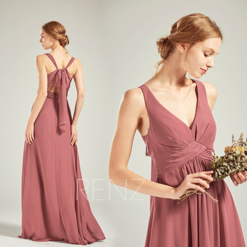 ded83337c812 Old Rose Chiffon Bridesmaid Dress Wedding Dress V Neck Maxi