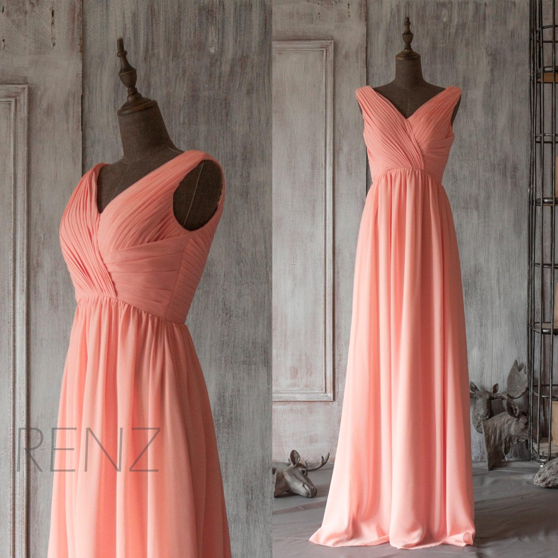 ce2bf9ff8c Bridesmaid Dress Light Coral Chiffon Dress Wedding Dress