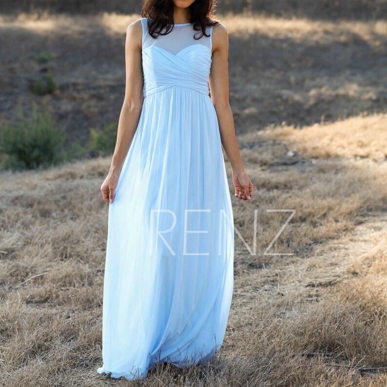 Light blue chiffon empire waist dress