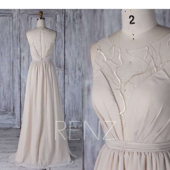 Prom Dress Cream Chiffon Bridesmaid DressWedding | Etsy