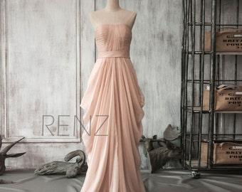 Bridesmaid Dress Peach Chiffon Dress,Wedding Dress,Draped Party Dress,Strapless Formal Dress,Ruched Maxi Dress Evening Dress(F105)-Renzrags