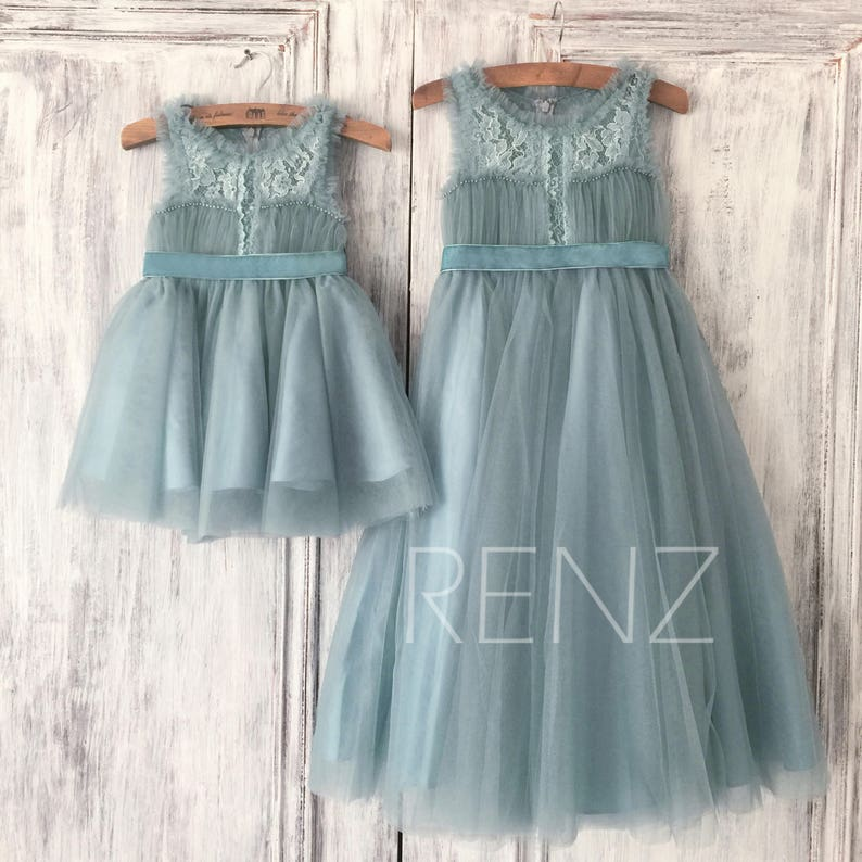 20511d7eacc Dusty Blue Tulle Flower Girl Dress Lace Illusion Neck Puffy