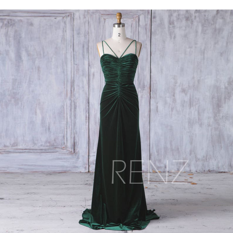 best choice outlet store discount sale Dark Green Velvet Bridesmaid Dress Ruched Wedding Dress Sweetheart  Spaghetti Strap Maxi Dress Backless Mother of the Bride Prom Dress(HV412)