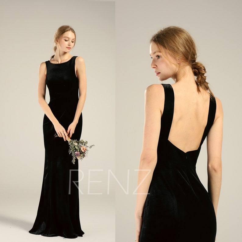 367b993271 Prom Dress Black Velvet Bridesmaid Dress Backless Wedding