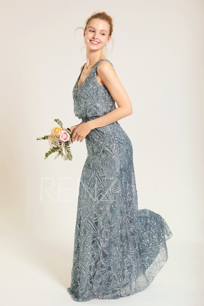 ebe7a612830 Party Dress Dusty Blue Sequin Bridesmaid Dress Wedding Dress V
