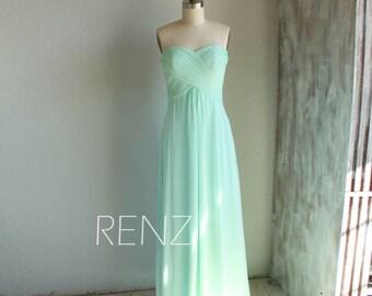 Bridesmaid Dress Bright Mint Chiffon Dress,Wedding Dress,Sweetheart Prom Dress,Strapless A-line Party Dress,Empire Maxi Dress(B066)-Renzrags