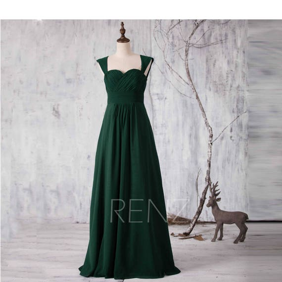 Prom Dress Forest Green Chiffon Bridesmaid Dresswedding Etsy