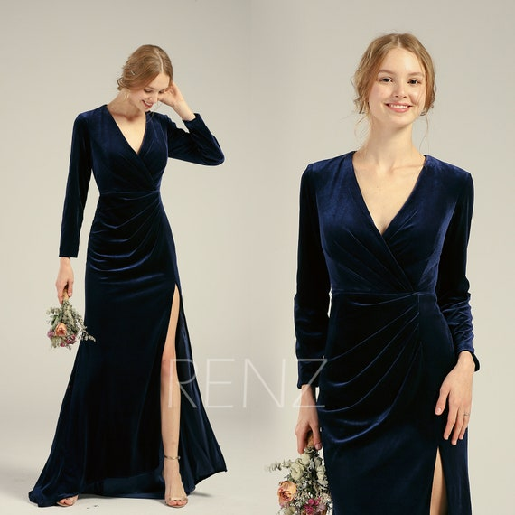 Velvet Dress Long Sleeve Navy Blue