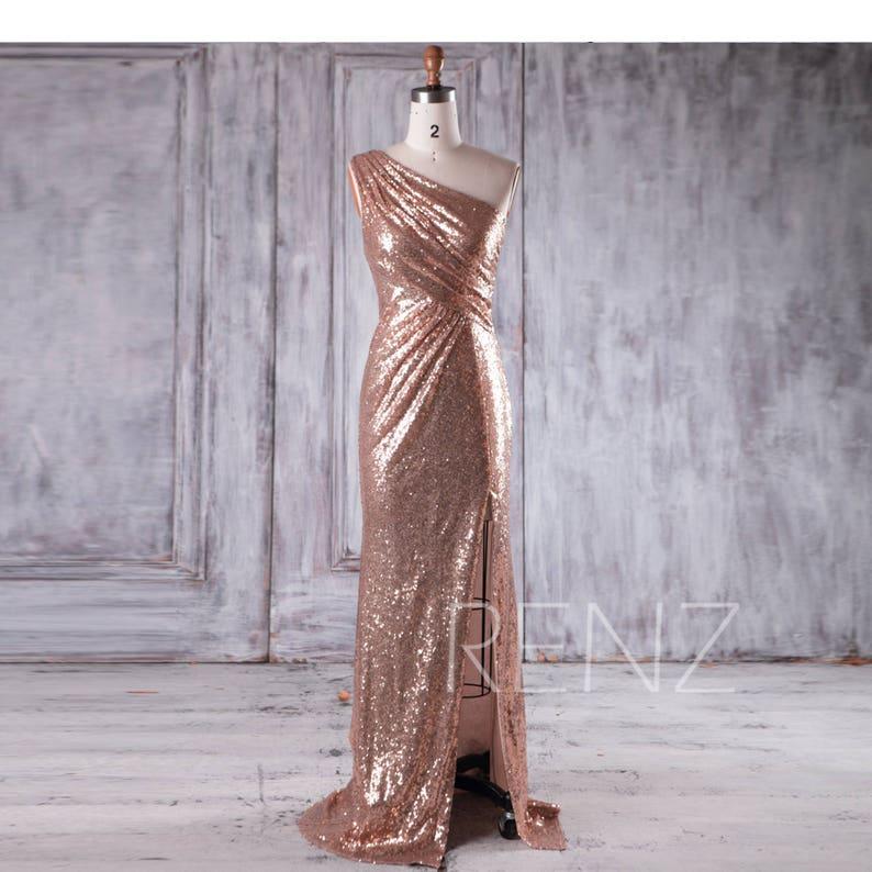6e517187705dc Bridesmaid Dress Rose Gold Sequin Dress Wedding Dress One | Etsy