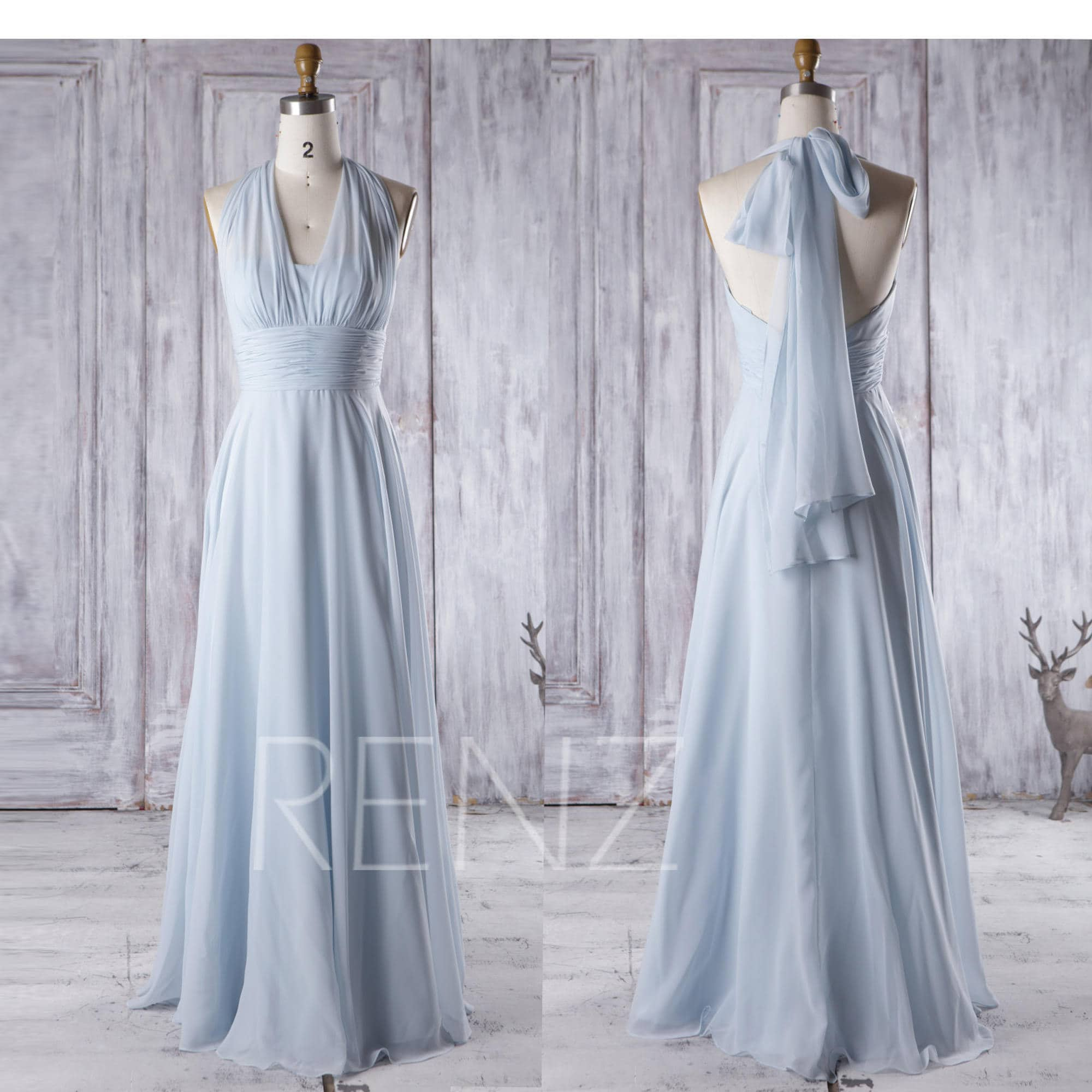 aa9293f77ca2 Light Blue Bridesmaid Dresses With Sleeves