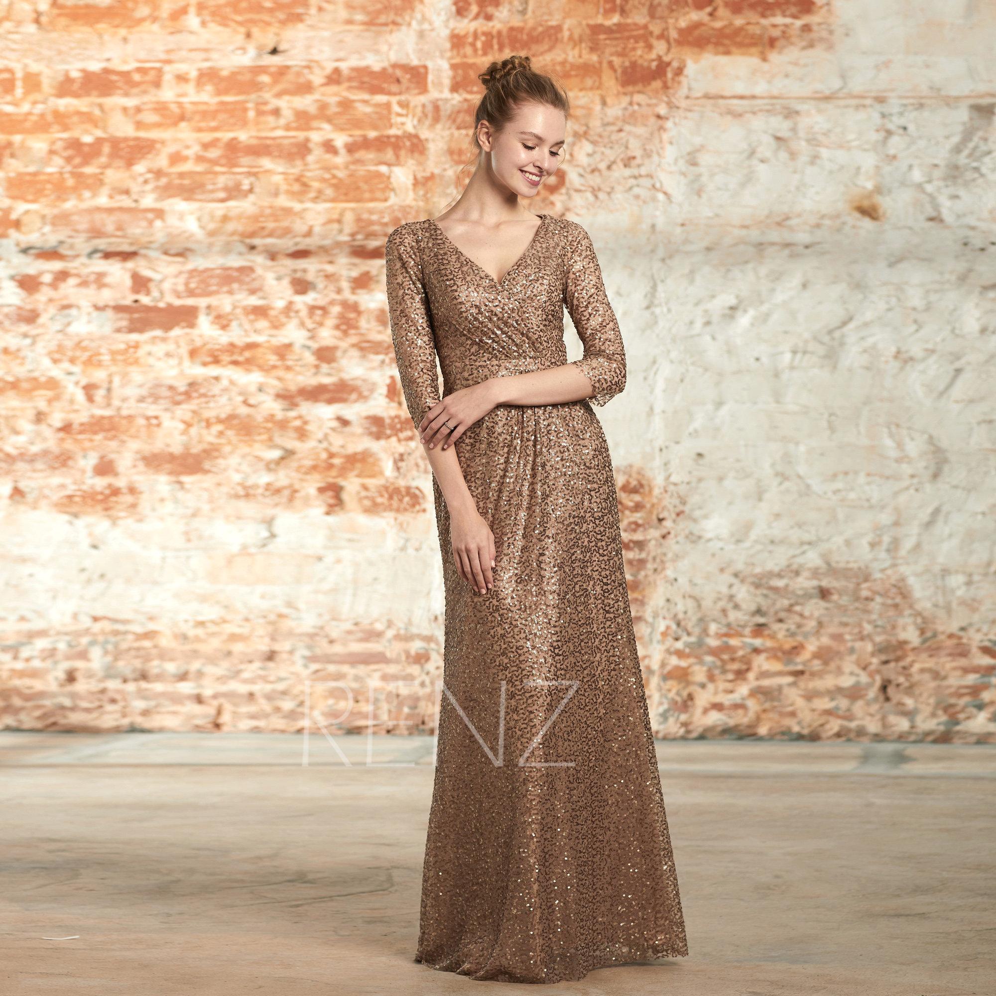 262171225 Party Dress Bronze Sequin Dress Ruched V Neck Bridesmaid Dress
