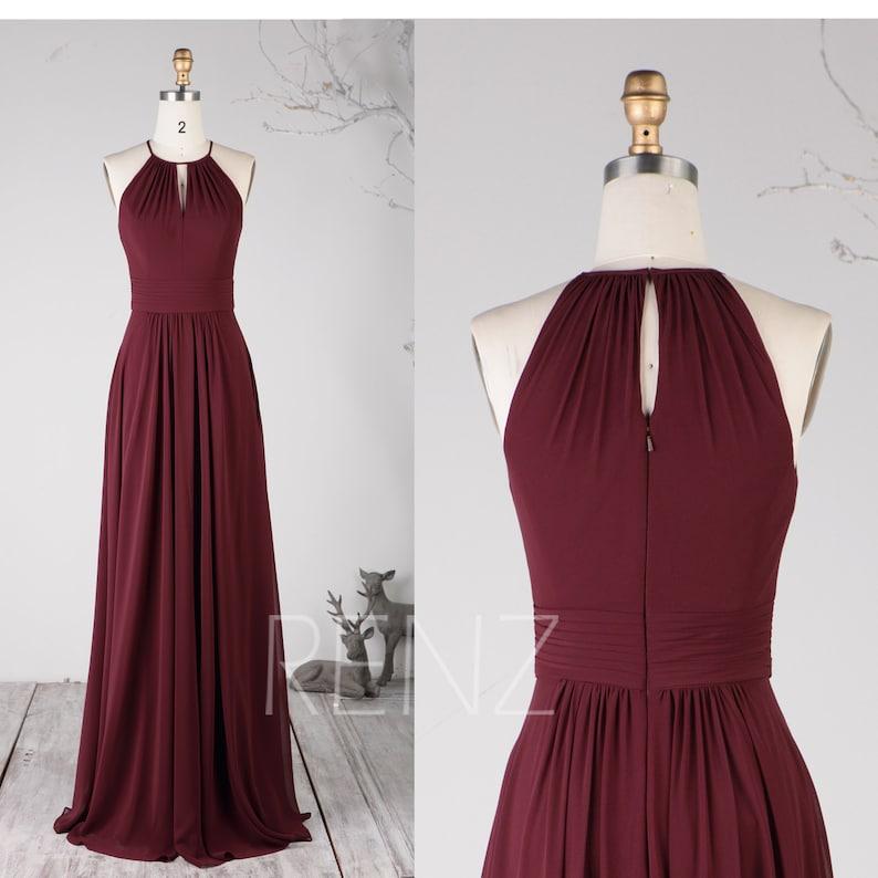 dbb8e8fff00e Bridesmaid Dress Burgundy Long Party Dress Women Halter Neck | Etsy