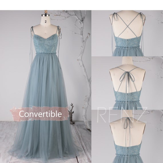 Bridesmaid Dress Dusty Blue Tulle Long Formal Dress Women Beaded Sweetheart Convertible Straps A line Prom Dress (HS718)