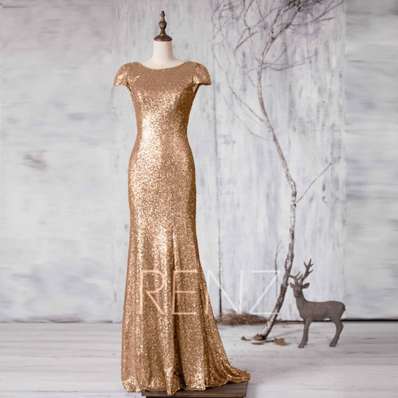 Bridesmaid Dress Gold Sequin Metallic Wedding Dressbateau Etsy