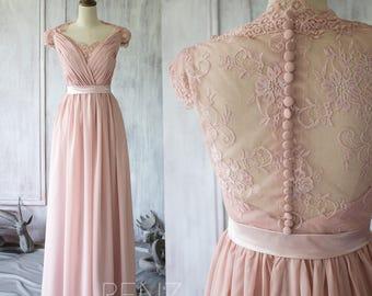 Blush Chiffon Lace Bridesmaid Dress, Cap Sleeve Wedding Dress, Party Dress, Long Formal Dress Floor Length (F120A)-Renzrags