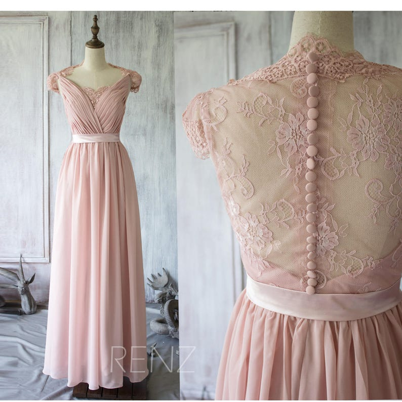 161807b1b2fa6 Blush Chiffon Lace Bridesmaid Dress Cap Sleeves Wedding Dress