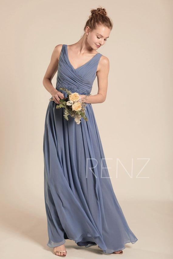 Bridesmaid Dress Steel Blue Chiffon Dress,Wedding Dress,Ruched V Neck Maxi Dress,Illusion Lace Applique Prom Dress,A-line Party Dress