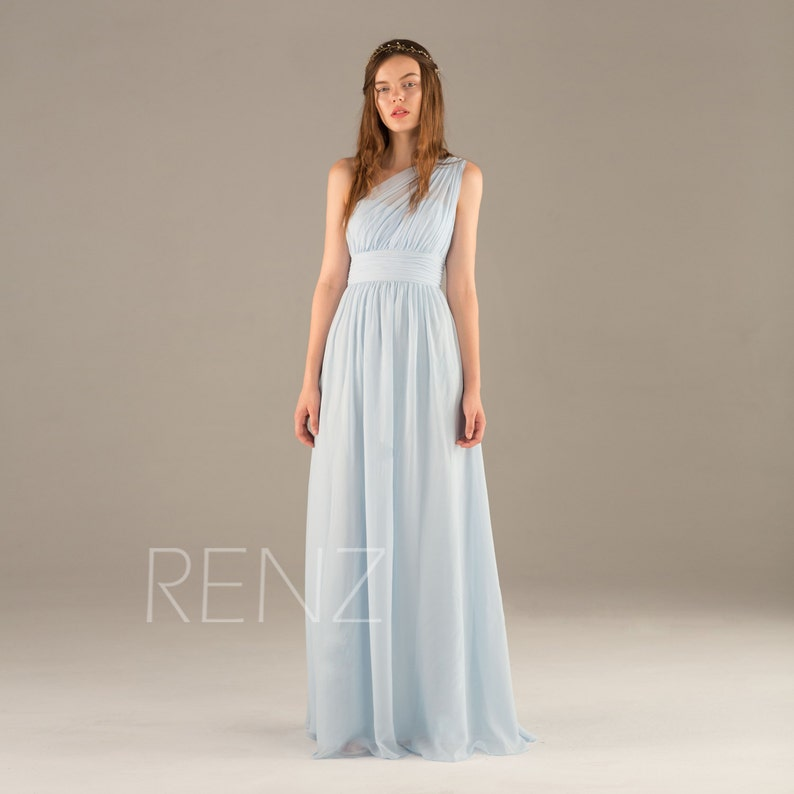 406b78d06f1 Bridesmaid Dress Light Blue Chiffon Dress One Shoulder Maxi