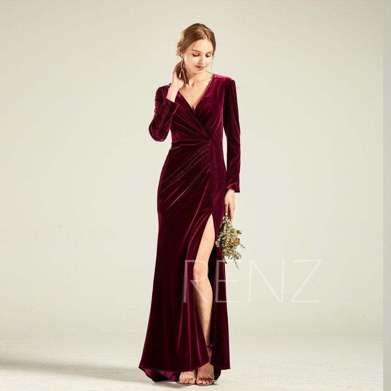 Long Sleeves Plum Velvet Bridesmaid Dress V Neck Evening Dress Slit  Asymmetrical Bodycon Mother of Bride Train Dress Wedding Dress(HV415A) bb94cc579d7d
