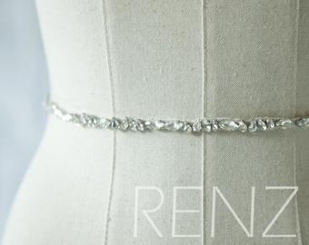 Wedding Sash, Bridal Belt, Bridal Sash, Bridesmaids Sash Crystal Sash Jewelly Belt (HA306)