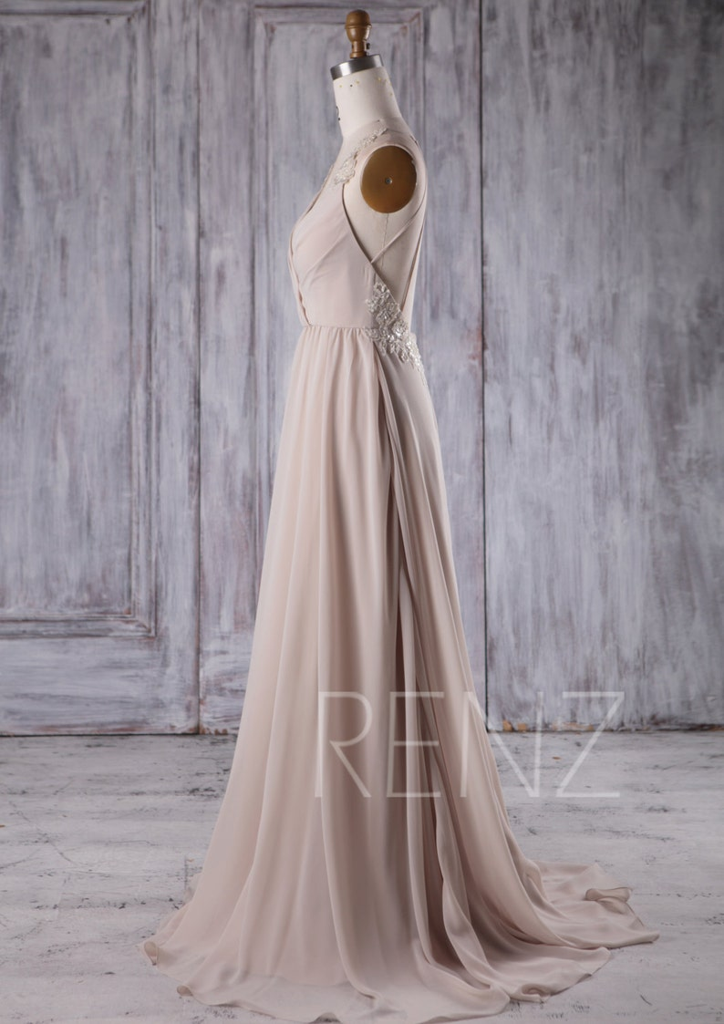 Party Dress Cream Chiffon Bridesmaid DressDeep V Neck Wedding  39dc94cbf