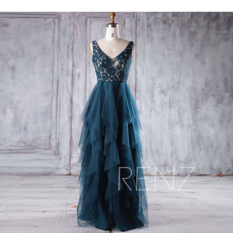 6dd95006976 Ink Blue Bridesmaid Dress Ruffle Tulle Skirt Prom Dress Sexy V