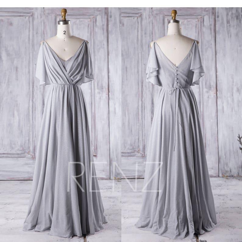 0c2445ab892 Light Gray Bridesmaid Dress Chiffon Ruffle Sleeve Wedding
