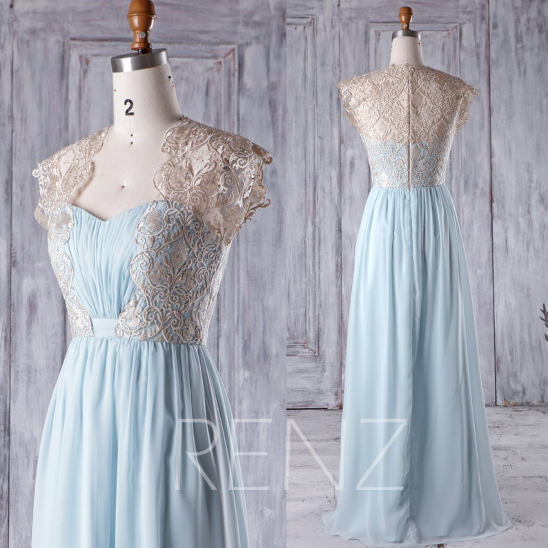da17be2f16d Bridesmaid Dress Light Blue Chiffon Gold Lace Maxi Dress