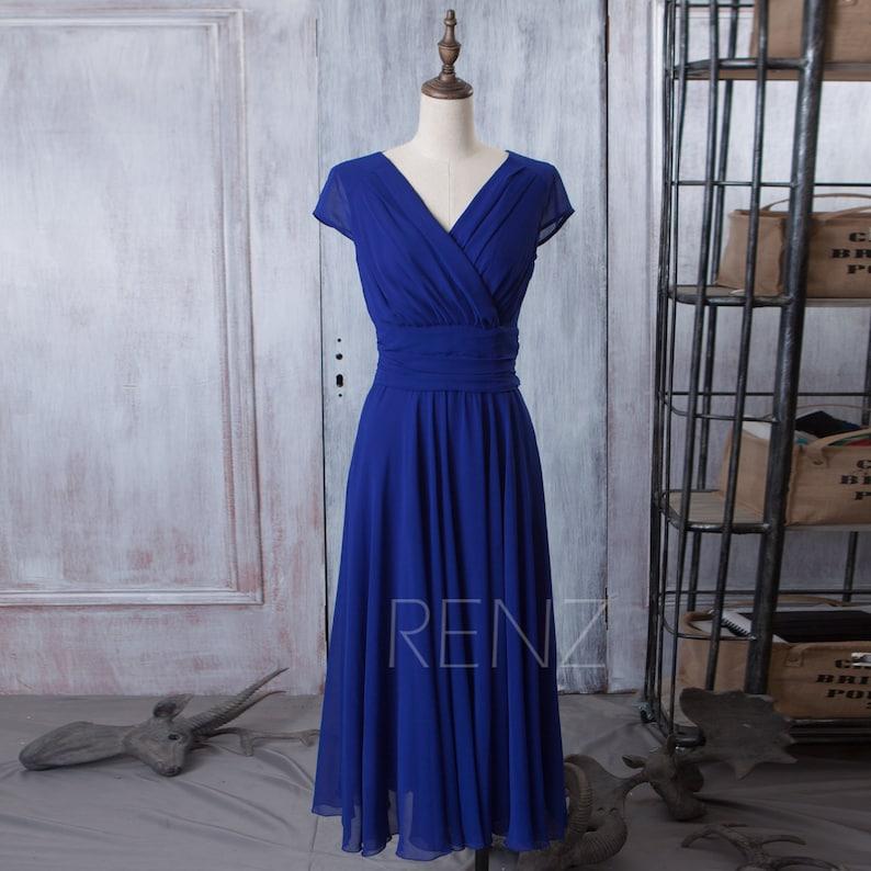 781910f5dc5b2 Royal Blue Bridesmaid Dress Cap Sleeve Party Dress Long | Etsy