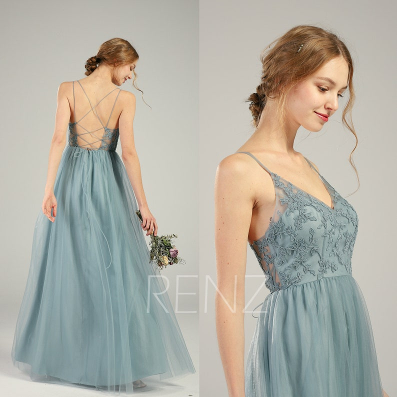 b4367dadab Prom Dress Dusty Blue Tulle Bridesmaid Dress V Neck Wedding
