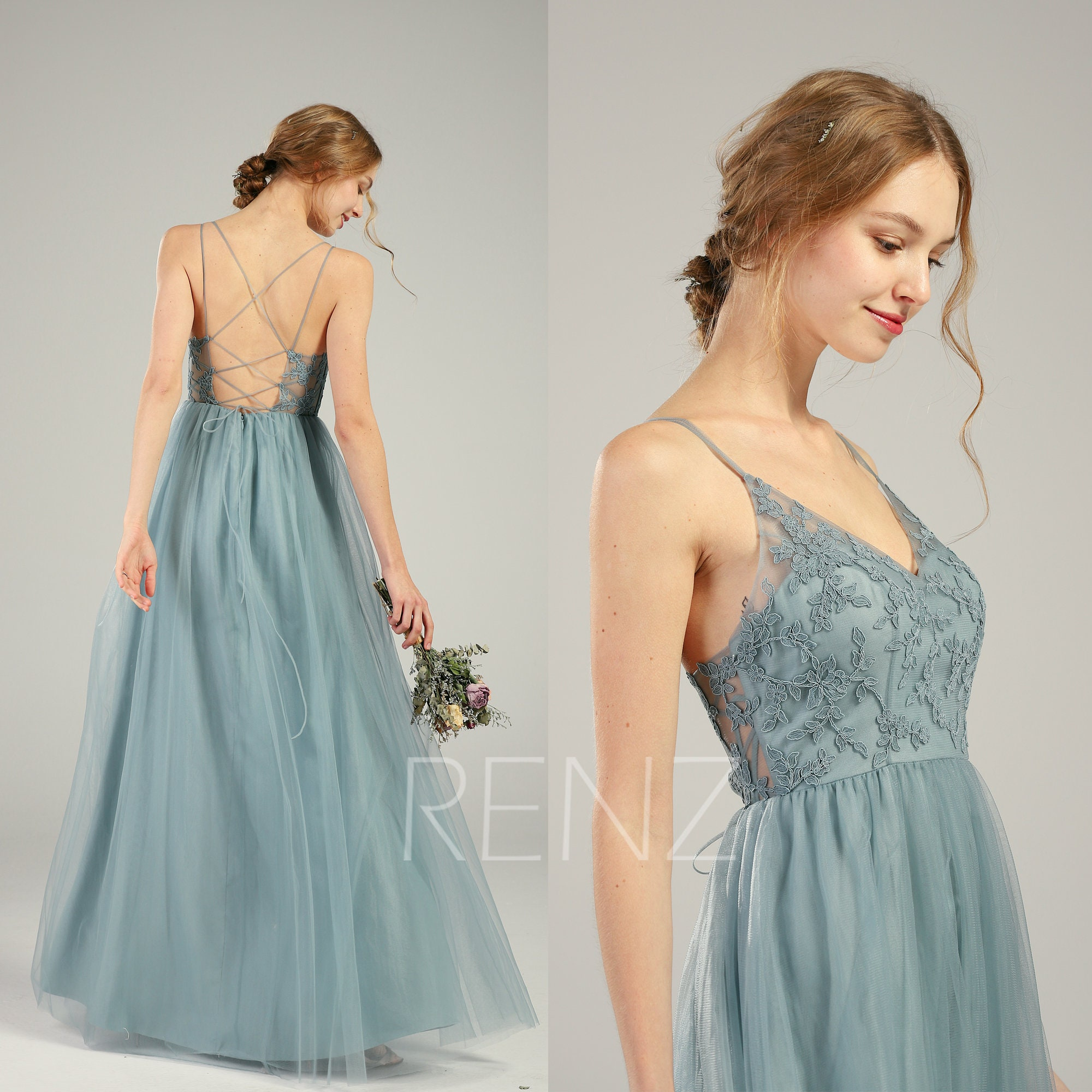 68df951980 Bridesmaid Dress Dusty Blue Lace Wedding Dress Long V Neck Spaghetti Strap  Prom Dress Illusion Lace-up Back A-line Tulle Dress (HS736)