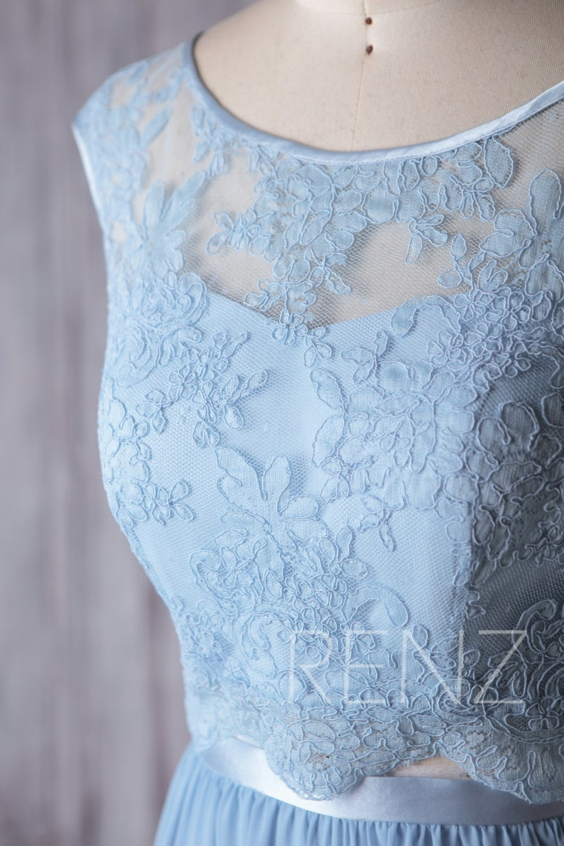 H369 Formal Dress Long Baby Blue Two Piece Lace Prom Dress Scoop Neck A-line Prom Dresses
