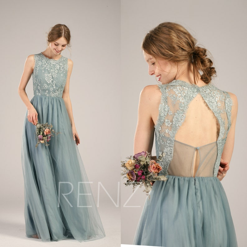 b43d01998f35f Bridesmaid Dress Dusty Blue Tulle Wedding Dress Illusion Lace | Etsy