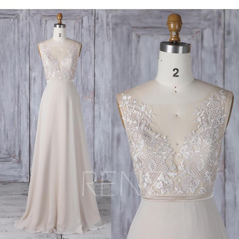 37b9bce9d270b Bridesmaid Dress Cream Chiffon Wedding Dress Illusion Lace | Etsy