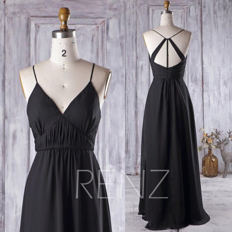 05b83d09a73 Bridesmaid Dress Black Chiffon Wedding Dress Deep V Neck