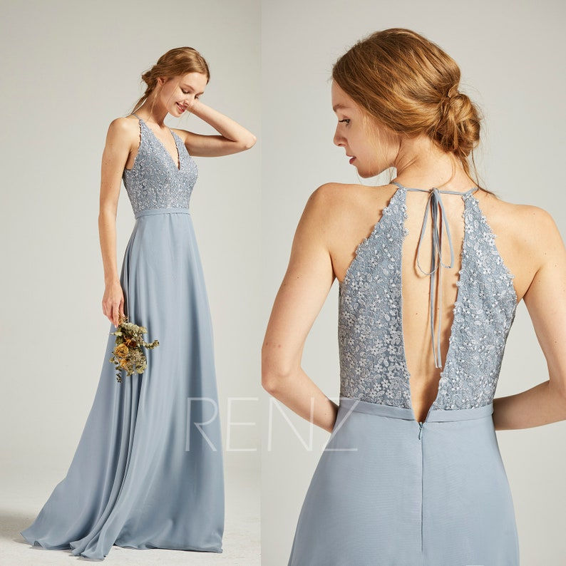 b3e95461b05 Prom Dress Long Dusty Blue Chiffon Simple Wedding Dress V Neck