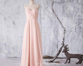 Peach Chiffon Bridesmaid Dress, Long Wedding Dress, Party Dress, Formal Dress, Pleated Elegant Dress Floor Length (F080)-Renzrags