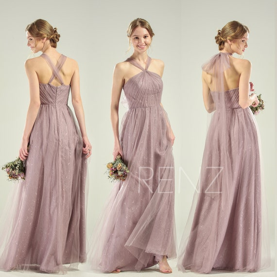 agreatvarietyofmodels usa cheap sale best deals on Infinity Bridesmaid Dress Dark Mauve Tulle Convertible Straps Multiway  Dress Halter Wedding Dress Long A-line Formal Dress (HS722)