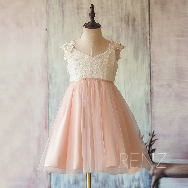 4f796f8ba9a11 Flower Girl Dress Peach Tulle Dress Junior Bridesmaid Dress Short A-Line  Baby Dress V Neck Off White Lace Party Dress Girl Tutu Dress(FK311)