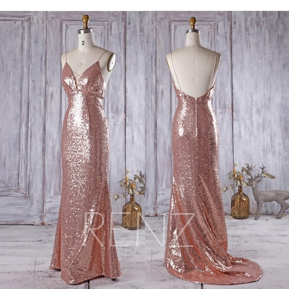 Party Dress Rose Gold Sequin Bridesmaid Dress V Neck Sleeveless Fitted Prom Dress Spaghetti Strap Open Back Train Dress Wedding Dress(HQ293)