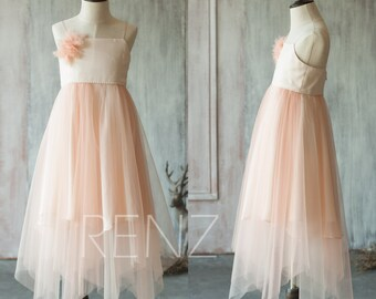 Junior Bridesmaid Dress Long, Blush Pink Flower Girl Dress, Peach Puffy Dress, Spaghetti Strap Rosette Dress (LK060)-Renzrags