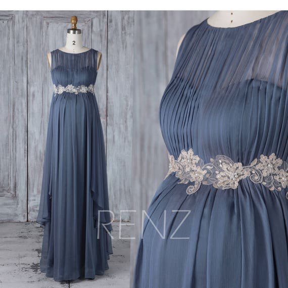 e1d338132410f Maternity Bridesmaid Dress Dark Steel Blue Chiffon Prom Dress | Etsy