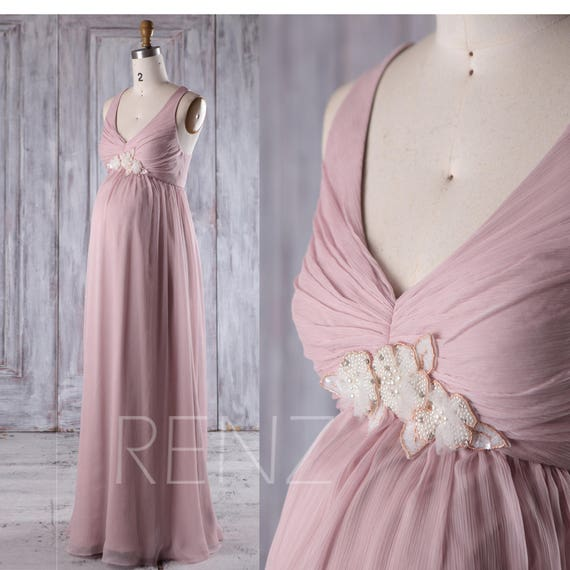 9e6448c98c789 Maternity Bridesmaid Dress Dusty Pink Chiffon PregnancyProm | Etsy