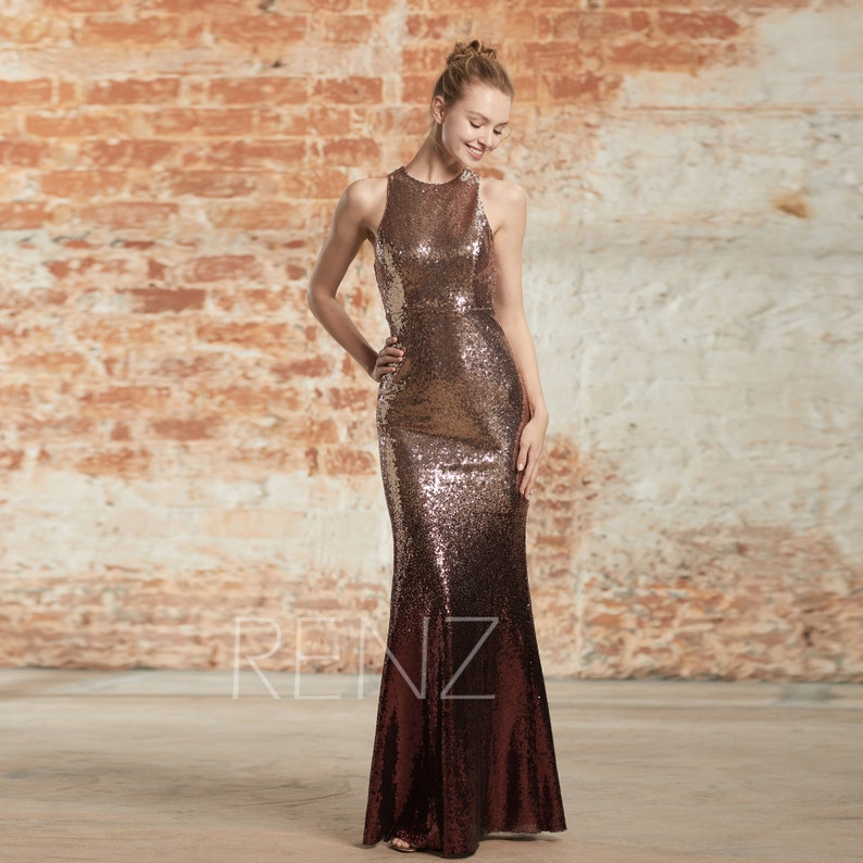 9a88026a9a86 Rose Gold & Wine Sequin Ombre Mermaid Dress Round Neck Prom | Etsy