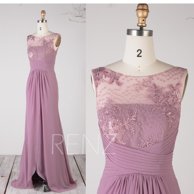 Mother of the Bride Prom Dress Mauve Chiffon Party Dress image 0