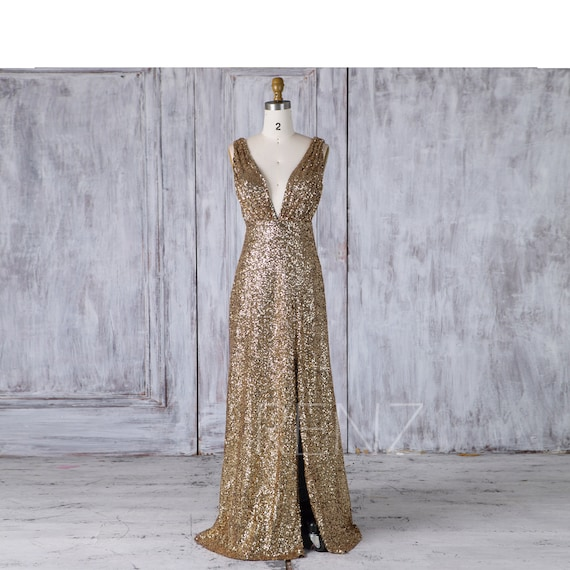 Bridesmaid Dress Gold Sequin Dress V Neck Wedding Dress Slit Ruched Evening Gown V Back Sleeveless Prom Dress (JQ200)
