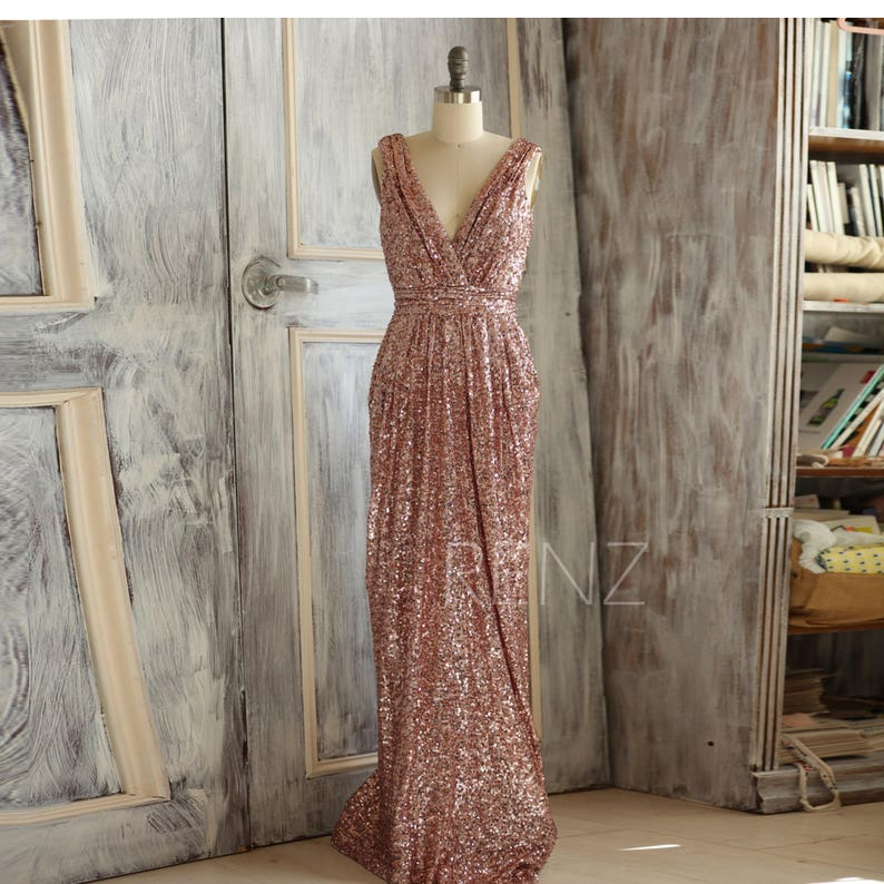 b550062117a4e Bridesmaid Dress Rose Gold Sequin Dress Wedding Dress Metallic | Etsy