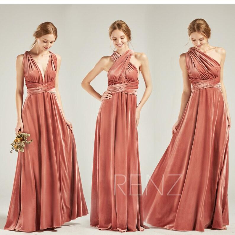 288854122d3 Bridesmaid Dress Velvet Long English Rose Wedding Dress V Neck