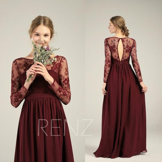 Bridesmaid Dress Maroon Wedding Dresslong Lace Sleeve Maxi Etsy